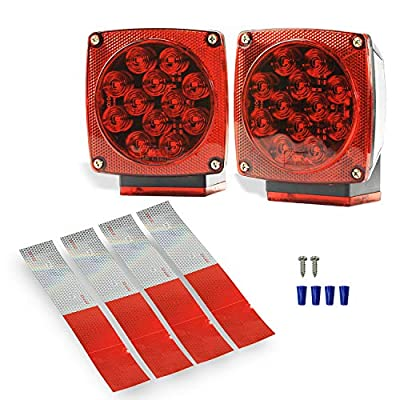 Wellmax 12V LED Submersible Trailer Lights, Left and Right Trailer Lights for Stop, Turn, and Signal Lights, for Under 80 Inch Boat Trailers, Truck, and RV: Automotive