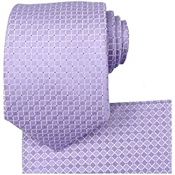KissTies Lavender Wedding Ties Set Necktie + Pocket Square + Gift Box