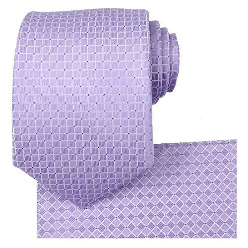 (KissTies Lavender Wedding Ties Set Necktie + Pocket Square + Gift Box)