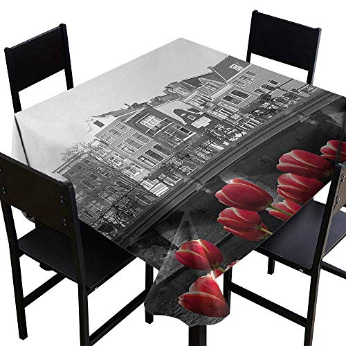 Black and White Tablecloth 4 Seater 54