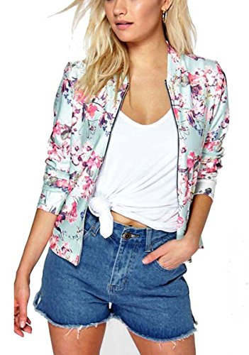 Mojessy Women's Floral Print Classic Quilted Baseball Jacket Fall Short Biker Bomber Jacket Coat X-Large Pink