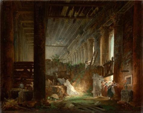 のポリエステルキャンバス地の油絵A Hermit Praying In The Ruins of a Roman temple、について1760by Hubert Robert `、サイズ: 10x 13インチ/ 25x 32cm、このアート装飾キャンバスプリントは、フィットのゲームルームアートワークとホームアートワークとギフトの商品画像