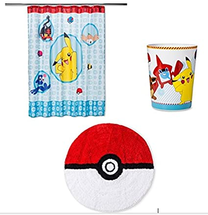 Pokemon Bathroom Shower Curtain Wastebasket And Bath Mat