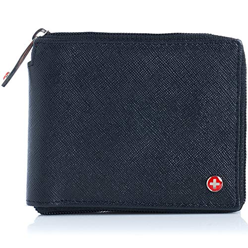 Alpine Swiss Mens Leather Zip Around Wallet ID Card Secure Zipper Bifold Crosshatch Black ()