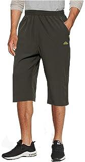 TACVASEN Pantalones cortos de algod/ón 3//4 para correr de verano al aire libre pantalones cortos cintura el/ástica Capri pantalones cortos con bolsillos con cremallera