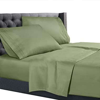 Queen Size Bed Sheets Set Sage Green, Bedding Sheets Set on Amazon, 4-Piece Bed Set, Deep Pockets Fitted Sheet, 100% Luxury Soft Microfiber, Hypoallergenic, Cool & Breathable