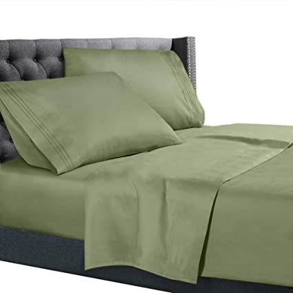 Nice Queen Size Bed Sheets Set Sage Green, Bedding Sheets Set On Amazon, 4