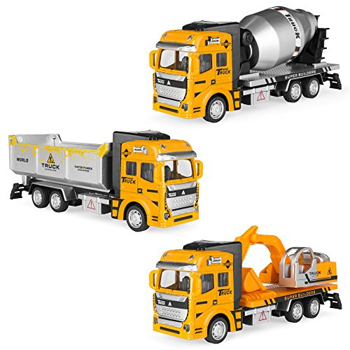 - Best Choice Products 7.5in Set of 3 Friction-Powered Construction Toy Trucks w/ Excavator, Dump Truck, Cement Truck