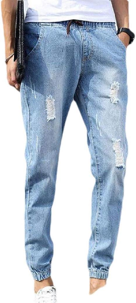 Romancly Mens Pocket Casual Loose Slim-Fit Mid Waist Drawstring Hole Pants