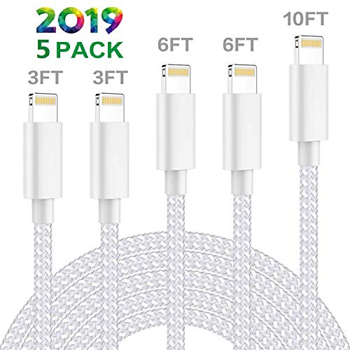 LasGame MFi Certified iPhone Charger,Lightning Cable 5 Pack [3/3/6/6/10FT] Extra Long Nylon Braided USB Charging & Syncing Cord Compatible iPhone Xs/Max/XR/X/8/8Plus/7/7Plus/iPad/Nan More