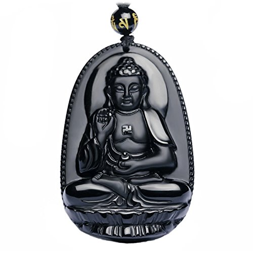 Handmade obsidian Buddha Lucky charm Stone Bring Good luck, Money and Love in Your Life, Crafted at Thailand Temple (C)