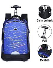 Travel Trolley Bag Multifunctional Middle School Student Double Back Portable Tug Schoolbag Decompression Spine Protection