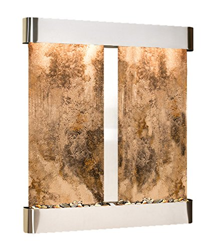 - Cottonwood Falls Water Feature with Stainless Steel Trim and Square Edges (Magnifico Travertine)