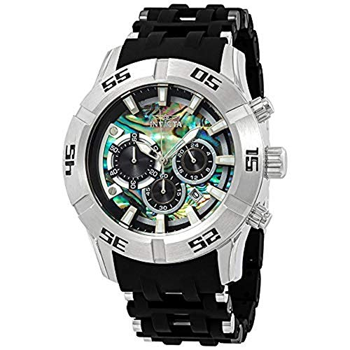 (         Invicta Men's 50mm Sea Spider II Abalone Dial Chronograph Polyurethane Bracelet Stainless Steel Watch 26529       )