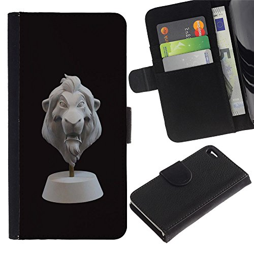 ProTech - Apple Iphone 4 / 4S - Lion 3D Cgi Character Bust Black Animal - Cuir PU Portefeuille Coverture Shell Armure Coque Coq Cas Etui Housse Case Cover Wallet Credit Card