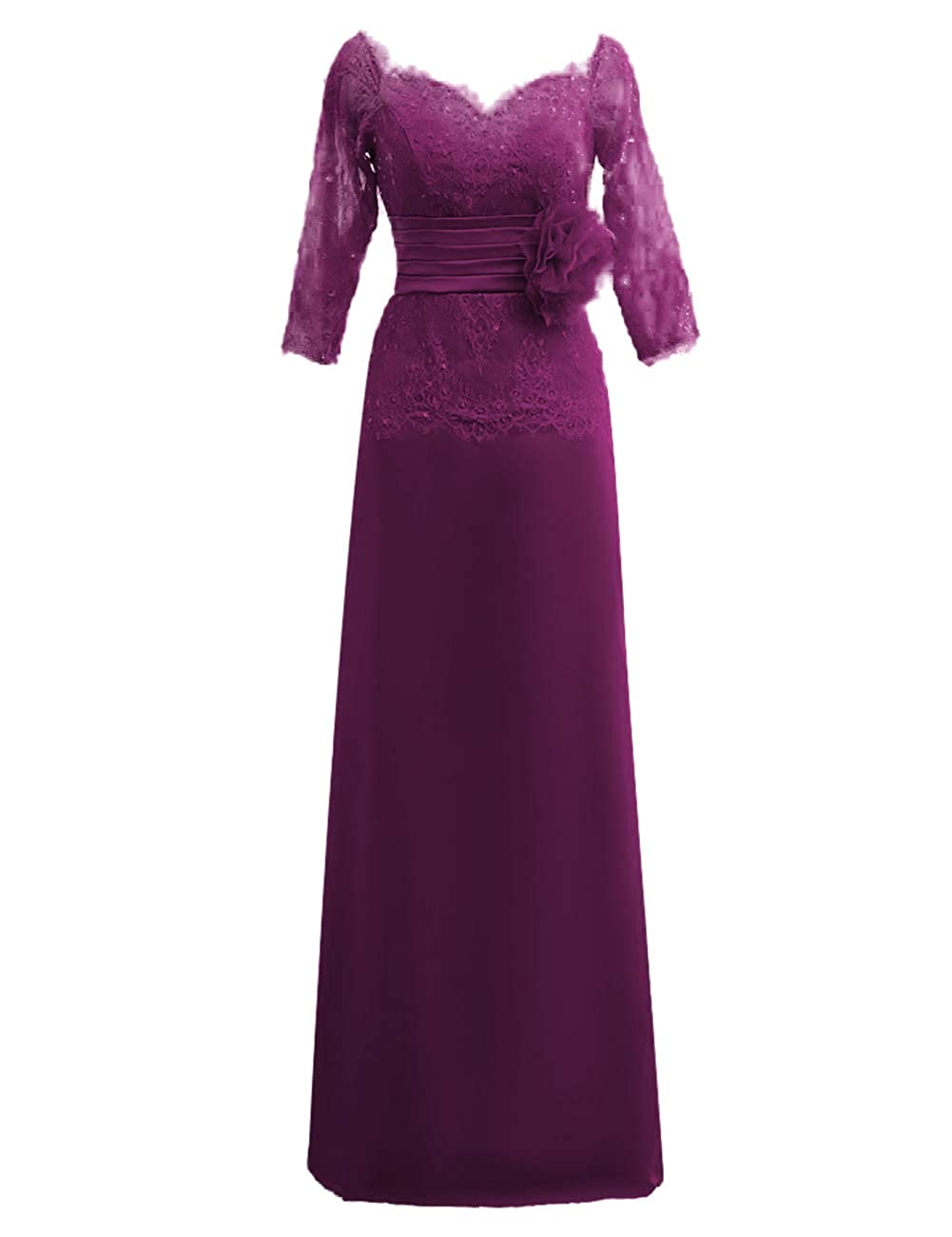 Grape JAEDEN Mother of The Bride Dresses Long Sleeves Formal Evening Gowns for Women Lace Evening Dresses for Wedding