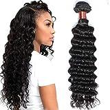 BLACKMOON HAIR(TM) Brazilian Hair Deep Wave 28 inch 100% Unprocessed Virgin Human Hair One Bundle Weave Natural Black Color
