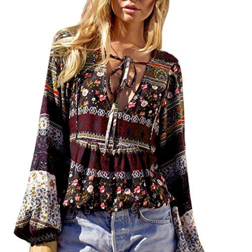 Vovotrade Fashion Womens Summer Boho Long Sleeve Casual Blouse Loose Tops T Shirt