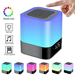 HOMPOT- Night Light Bluetooth Speaker, Touch Sensor Bedside Lamp Warm Light and Color Changing Alarm Clock, MP3 Player, USB, AUX, 4000mAh Battery Best Gift for Kids, Party, Bedroom, Outdoor.