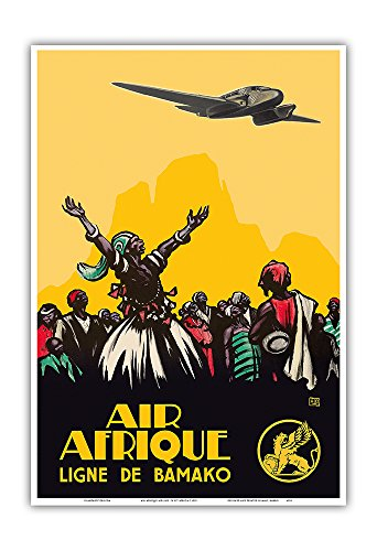 Pacifica Island Art Air Afrique Airline - West Africa - Bamako Airlines (Ligne de Bamako) - Vintage Airline Travel Poster c.1925 - Master Art Print - 13in x 19in