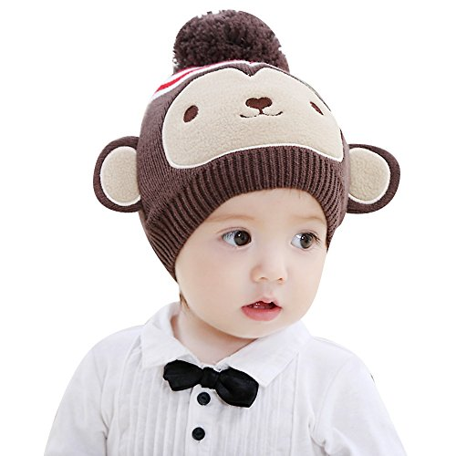 IMLECK Infant Brown Monkey Baby Pure Cotton Knit Hat