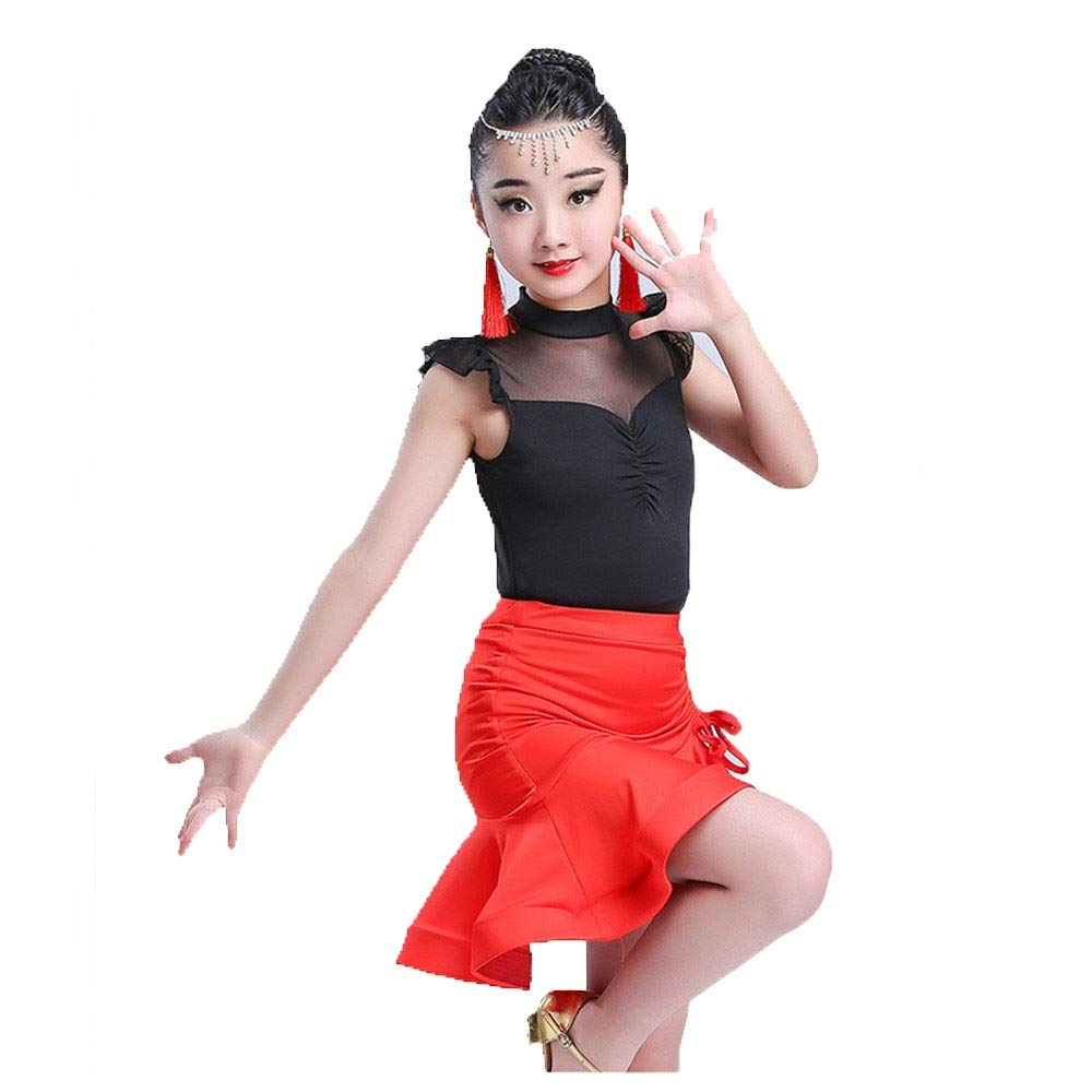 Children Dance Wear Costumes Kids Girls Sleeveless Mesh