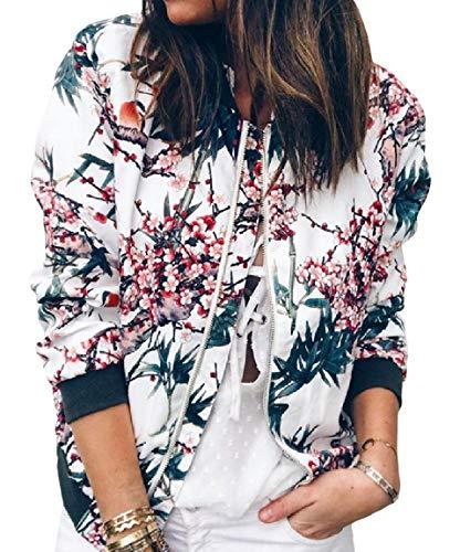 Floral MogogoWomen Collar Zip Sleeve Stand Long Outwear Blue up Weekend Jacket 0qw44xtIr