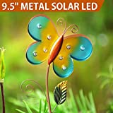 Bright Zeal 9.5'' Big Metal Butterfly Solar Lights Yard Art - Outdoor Garden Decorations LED Solar Garden Statue - Yard Decorations Solar Butterfly Lights Outdoor - Figurine Lights Solar Garden Decor