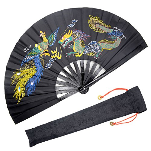 - OMyTea Bamboo Large Rave Folding Hand Fan for Men/Women - Chinese Japanese Kung Fu Tai Chi Handheld Fan with Fabric Case - for Performance, Decorations, Dancing, Festival, Gift (Dragon & Phoenix)