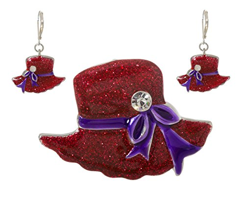 Hat Pins Jewelry Red (Artisan Owl - Glittering Red Hat Society Dangling Earrings and Brooch Pendant Pin Set)