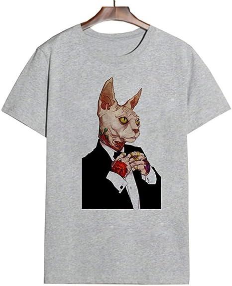 ZHOUBIANREN Camiseta Mujer,La Mujer Ropa Femenina De Verano T-Shirt Hipster Streetwear Cat Estética Gótica Tops De Moda Moda Harajuku Camisa Animal Print: Amazon.es: Deportes y aire libre