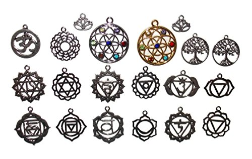 20 Chakra and Spiritual Mandala, lotus, Flower of Life and Tree Charms from Old School Geekery TM Flower Power Charm