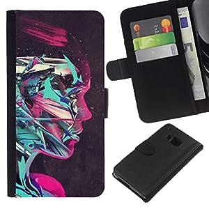 YiPhone /// Tirón de la caja Cartera de cuero con ranuras para tarjetas - Rosa Cyborg - HTC One M7