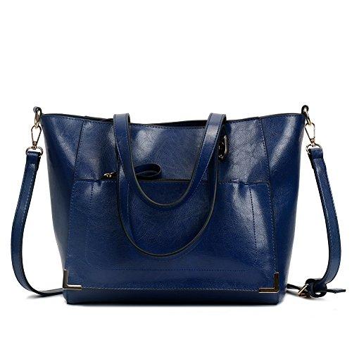 Odomolor Mujeres Cremalleras Bolsas de Mano Moda Casual PU Bolsas de Hombro,ROPBL180766 Azul