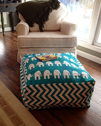 Turquoise Elephant Floor Pillow Cover Only