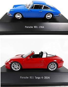 Opo 10 2er Set Porsche 1 43 901 De 1964 Bleue 911 Targa 4 De 2014 4001 4023 Spielzeug