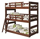 Twin Triple Bunk Bed in Chocolate