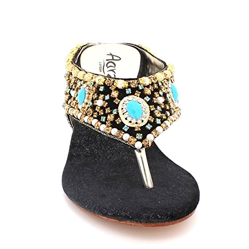 Taille De Glisser Toe Diamante des Bal Confort Femmes Talon compensé sur mariée Mariage Sandales Cristal Post Soir Fête de Noir Chaussures Bas Dames xa4wtq4v1