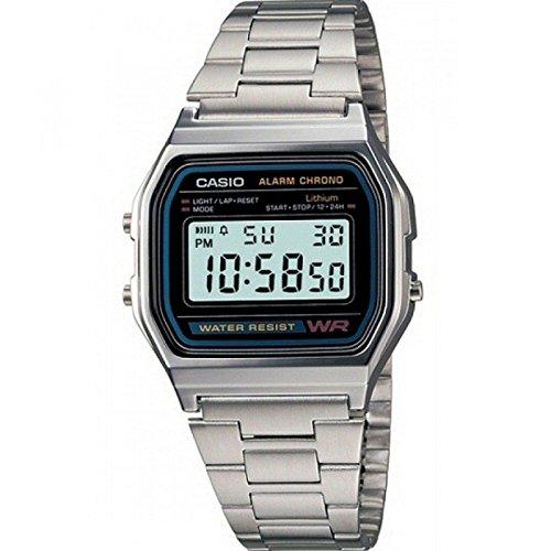 Casio-A158WA-Reloj-unisexo-correa-de-acero-inoxidable-color-plateado