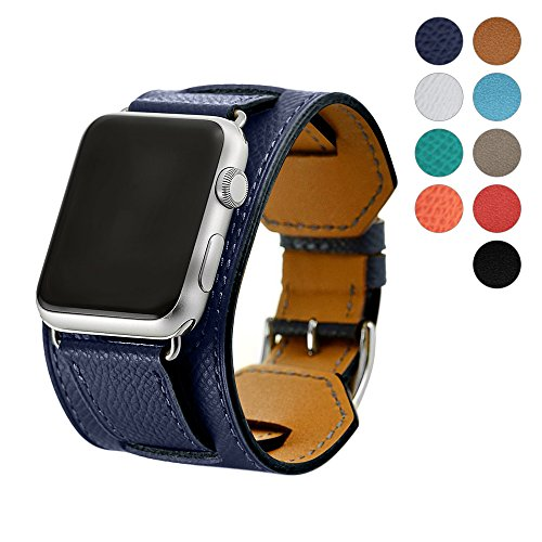 8 Colors Compatible for Iwatch Series 3 Band, Premium Genuine Leather Strap Classic Replacement with Secure Buckle Adapter for iWatch Series 3/2/ 1/Edition/Sport 42mm 38mm (Deep Blue, 42mm)