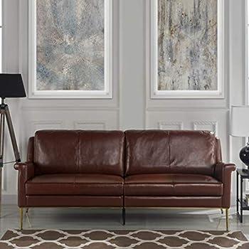 Amazon.com: Coja by Sofa4life Benson Leather Sofa, Grey ...