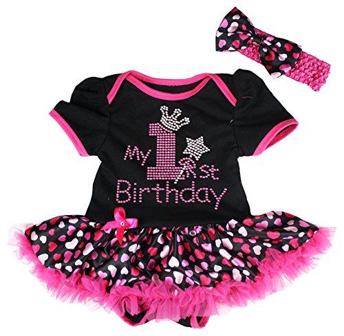 [Petitebella My 1st Birthday Dress Black Bodysuit Hot Pink Hearts Tutu Nb-18m (12-18 Months)] (Pink Spandex Bodysuit)