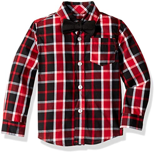 French Toast Boys' Big Long Sleeve Dress Shirt with Bow Tie, Bright red 10