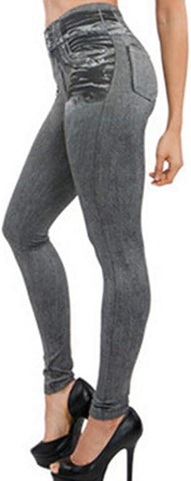Pantalones Vaquero Imitación Cintura Alta Mujer pantalón Chandal ...