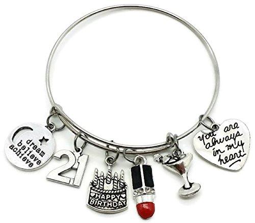 21st Birthday bracelet, Birthday gift for Women, Birthday bangle bracelet, Birthday charm, Lipstick charm, Dream, believe, achieve charm, cocktail charm, Birthday bangle jewelry (21st Birthday)
