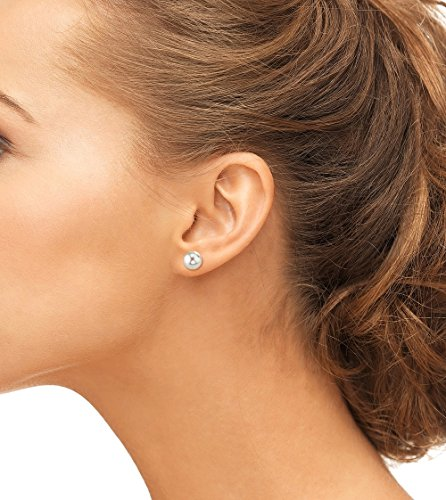 18K Gold 7.5-8.0mm White Akoya Cultured Pearl Stud Earrings - AA+ Quality by The Pearl Source (Image #1)