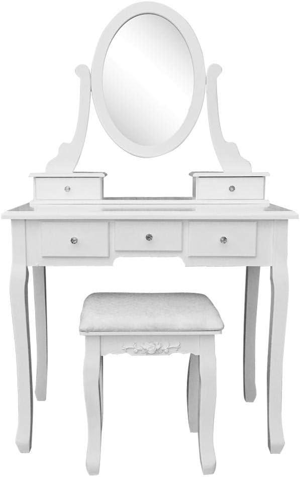 NANA SUN 360/° Rotation Single Vanity Mirror 5 Drawers Dresser Table and Dressing Stool Black//White-White