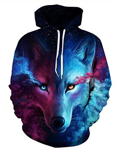 (GLUDEAR Unisex Realistic 3D Digital Print Pullover Hoodie Hooded Sweatshirt,Wolf,S/M)
