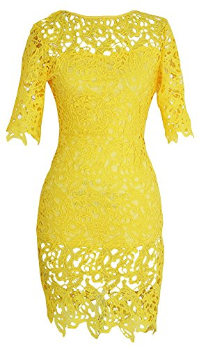 PEILUMENG Women's Short Sleeve Lace Embroidery Hollow Out Mini Dress Yellow