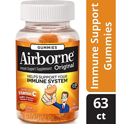 C Airborne Vitamin (Airborne Vitamin C Gummies, Orange, 63 Count)